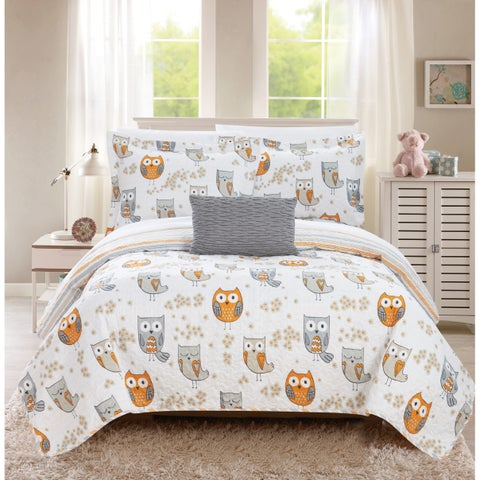 Chic Home Strix 4 Piece Reversible Quilt Set Cute Owl Design