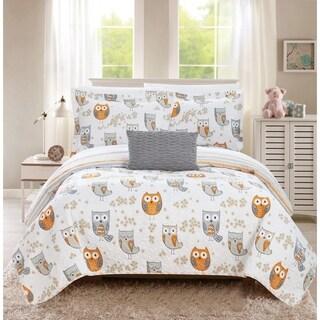 Chic Home Strix 4 Piece Reversible Quilt Set Cute Owl Design