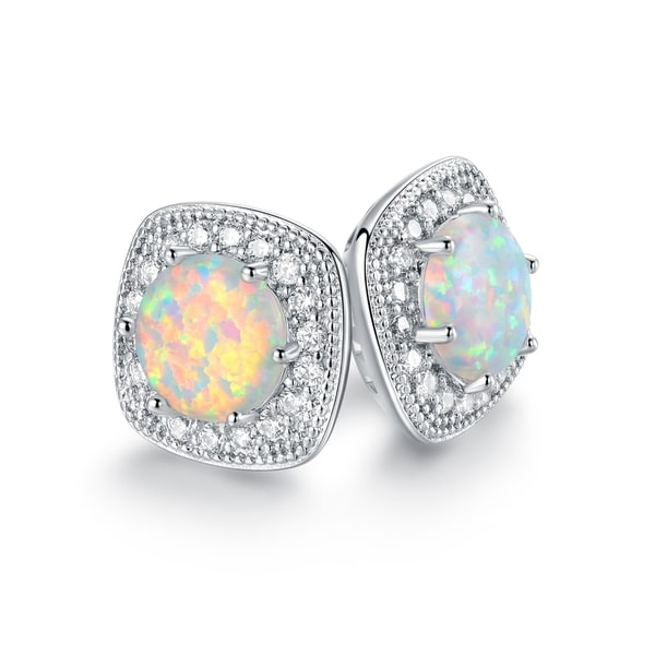 e2f073203 Shop Rhodium Plated Lab Created Fire Opal Stud Earrings - On Sale - Free  Shipping On Orders Over $45 - Overstock - 22869701
