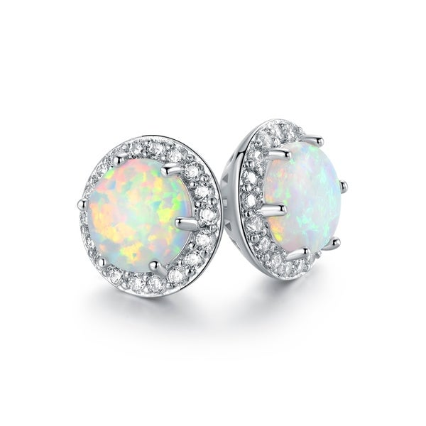 b629985f5 Shop Rhodium Plated Lab Created Fire Opal Stud Earrings - On Sale - Free  Shipping On Orders Over $45 - Overstock - 22869702