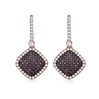 Collette Z Sterling Silver with Rose Gold and Black Plated Brown Round Cubic Zirconias with Clear Cubic Zirconias Drop Earrings