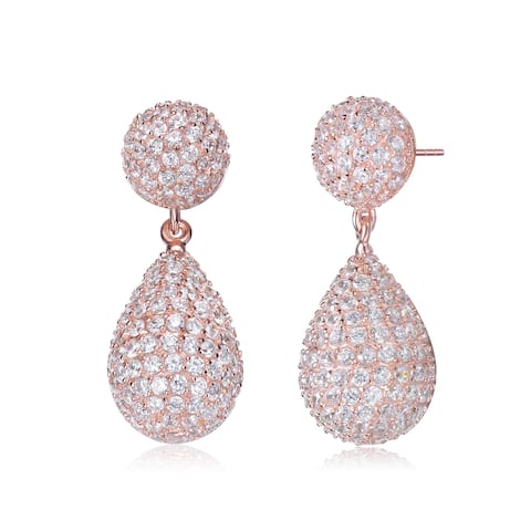 Collette Z Sterling Silver with Rose Gold Plated Paved with Clear Round Cubic Zirconias Dome and Teardrop Two-Tier Earrings
