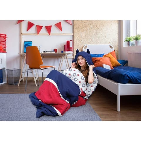 Chic Home Holger Sleeping Bag with Hood Two Tone Design for Teen/Adult - Twin - Twin XL