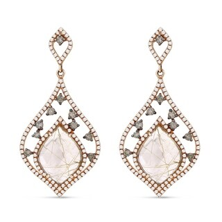 14K Rose Gold Dangling Earrings with White Diamonds; Free-Form Brown Diamond with Post Clasp
