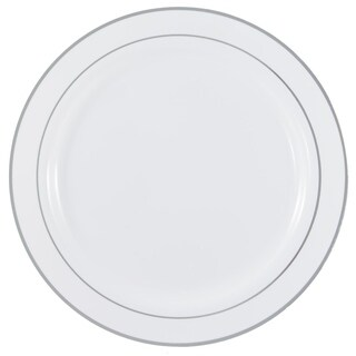 Disposable White with Metallic Rim Plastic Round Plates - Large Size- For Party's and Weddings