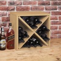 Way Basics Eco Stackable 12-Bottle Wine Rack Cube Storage, Natural LIFETIME GUARANTEE