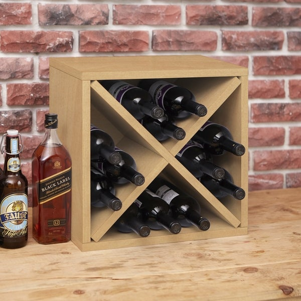 Way Basics Eco Stackable 12-Bottle Wine Rack Cube Storage, Natural LIFETIME GUARANTEE