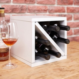 Way Basics Eco 6-Bottle Wine Rack Cube Storage, White LIFETIME GUARANTEE