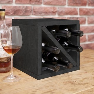 Way Basics Eco 6-Bottle Wine Rack Cube Storage, Black LIFETIME GUARANTEE