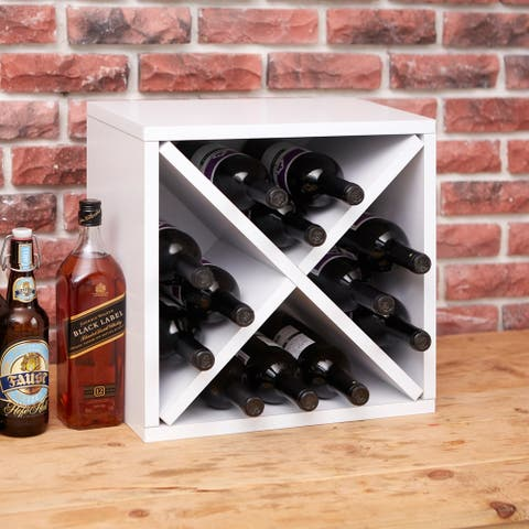 Way Basics Eco Stackable 12-Bottle Wine Rack Cube Storage, White LIFETIME GUARANTEE