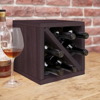 Way Basics Eco 6-Bottle Wine Rack Cube Storage, Espresso LIFETIME GUARANTEE