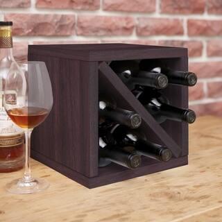 Way Basics Eco 6-Bottle Wine Rack Cube Storage, Espresso LIFETIME GUARANTEE