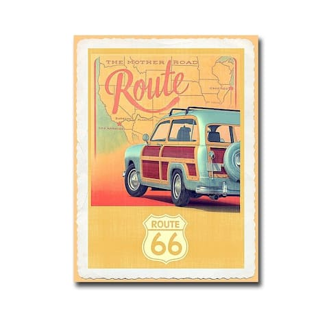 Route 66 Vintage Travel by Edward M. Fielding Gallery Wrapped Canvas Giclee Art