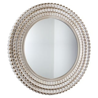 American Art Decor White and Gold Plastic Frame Round Hanging Wall Vanity Mirror
