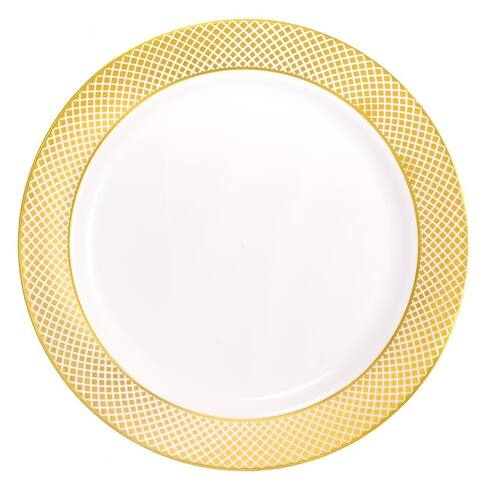 Disposable Diamond Rim Plastic Round Plates - For Party's and Weddings