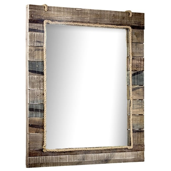 American Art Decor Rustic Wood Paneled Wall Vanity Mirror with Hanging Rope Wall Decor - Multi - A/N