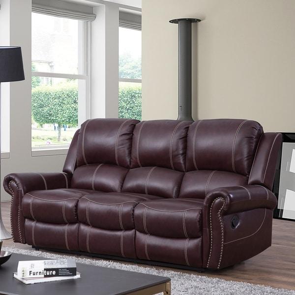 Shop Abbyson Winston Burgundy Top Grain Leather Reclining Sofa - On ...