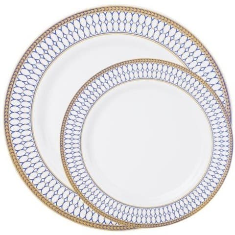 Disposable Chords Blue, White and Gold Round Plates - Fancy Disposable