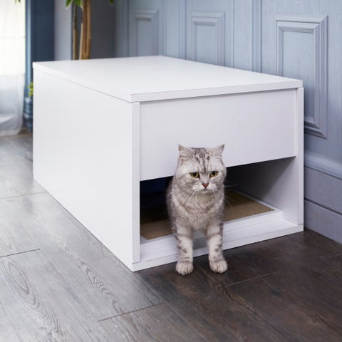 Eco Modern Cat Litter Box and Sidetable, White LIFETIME GUARANTEE