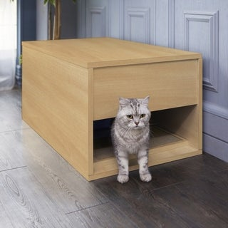 Eco Modern Cat Litter Box and Sidetable, Natural LIFETIME GUARANTEE