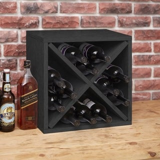 Way Basics Eco Stackable 12-Bottle Wine Rack Cube Storage, Black LIFETIME GUARANTEE