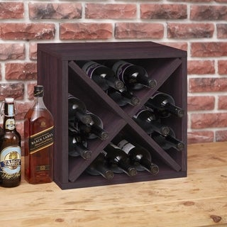 Way Basics Eco Stackable 12-Bottle Wine Rack Cube Storage, Espresso LIFETIME GUARANTEE