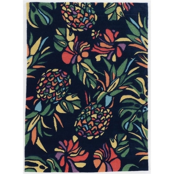 Trinity Pineapple Navy/Multi - 5' x 7'
