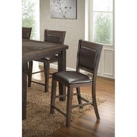 Best Master Furniture Walnut Finish Faux Leather Upholstered Counter Height Chairs (Set of 2)