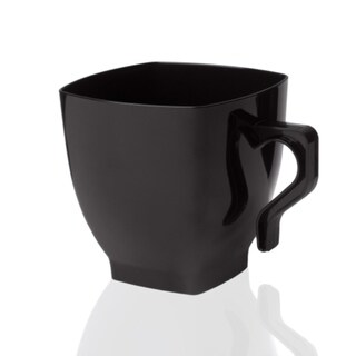 Plastic Coffee Mugs - Square Cups with Handle - Disposable or Reusable