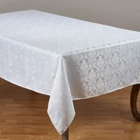 White Polyester Tablecloth With Subtle Damask Pattern