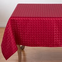 """Polyester Christmas Table Cloth With Checkered Pattern - 70"""" x 70"""""""