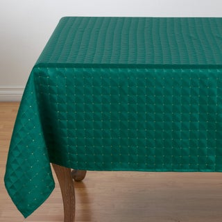 "Polyester Christmas Table Cloth With Checkered Pattern - 70"" x 70"""