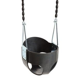 Sturdy Rubber 'Full Bucket' Baby Seat (metal insert) - 5mm chain with sleeve - Black