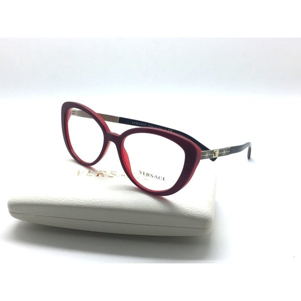 66f165d0237e Shop Versace Eyeglasses 3229 5188 52 16 Red Gold Burgundy - Free ...