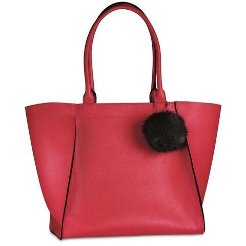 Elizabeth Arden Red Tote Bag with Fur Pom Pom Keychain