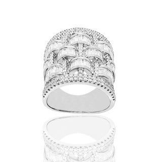 Clear Cubic Zirconia Cocktail Silver Ring