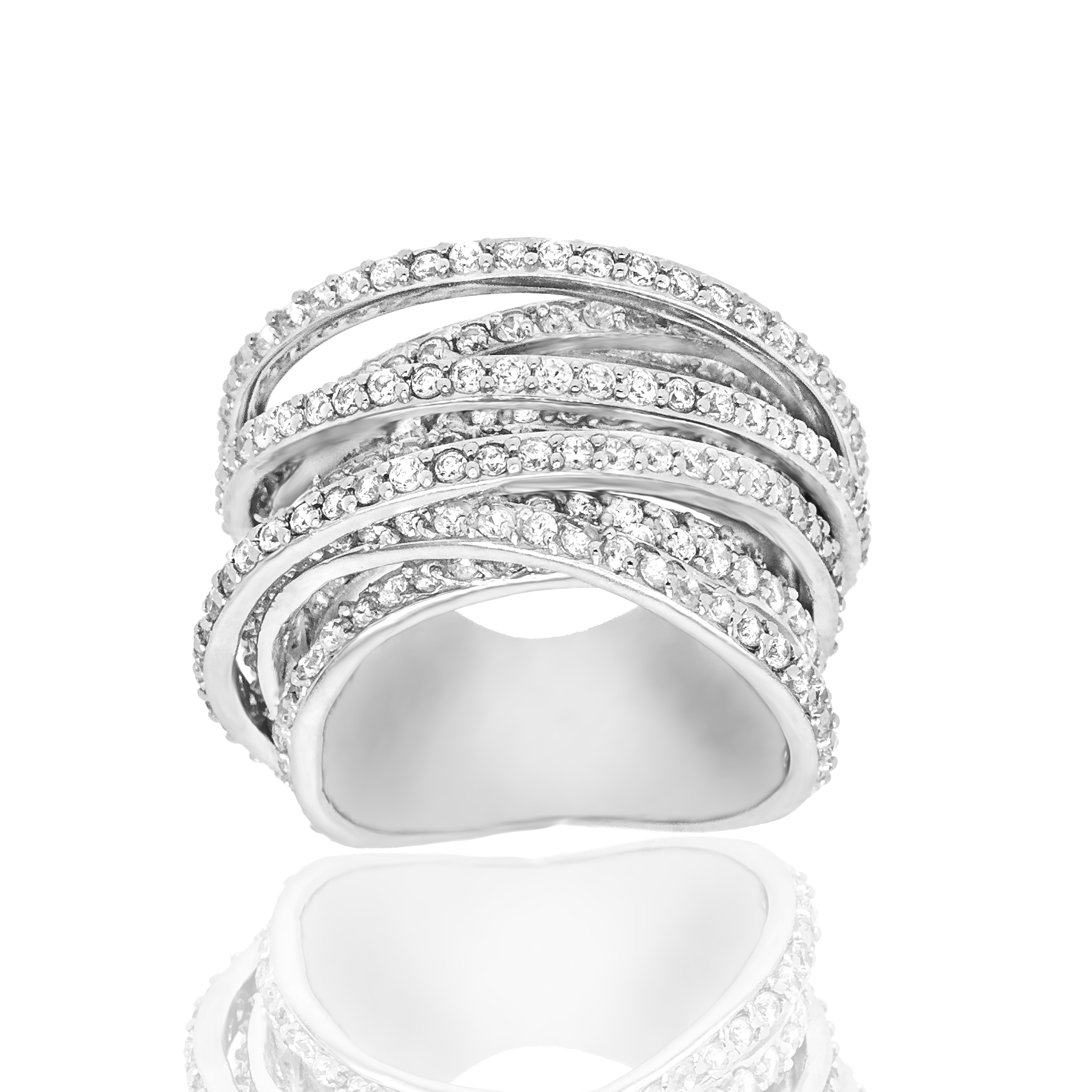 Sz Details about  /925 Sterling Silver Round Pave Black and White Diamond Criss Cross Ring 9