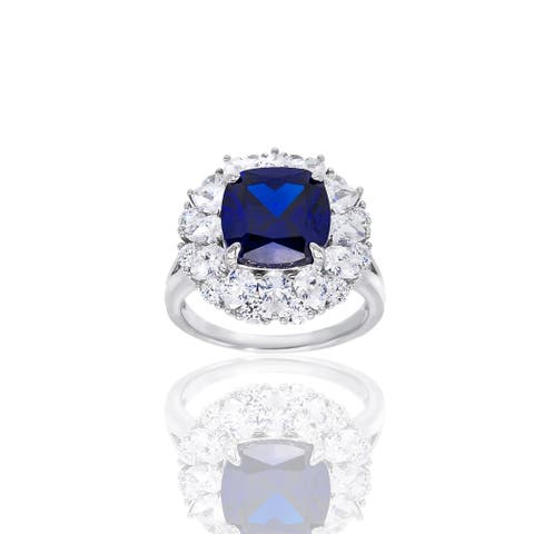Simulated Sapphire with Cluster Cubic Zirconia Silver Ring
