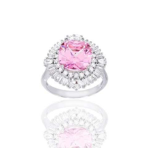 Round-Cut Pink Cubic Zirconia Center Cocktail Ring, Sterling Silver