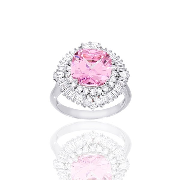 Round-Cut Pink Cubic Zirconia Center Cocktail Ring, Sterling Silver. Opens flyout.
