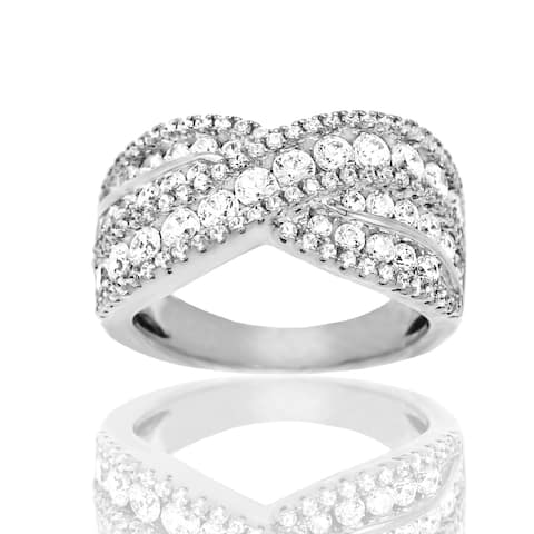 Cubic Zirconia Crisscrossing Sterling Silver Band Ring