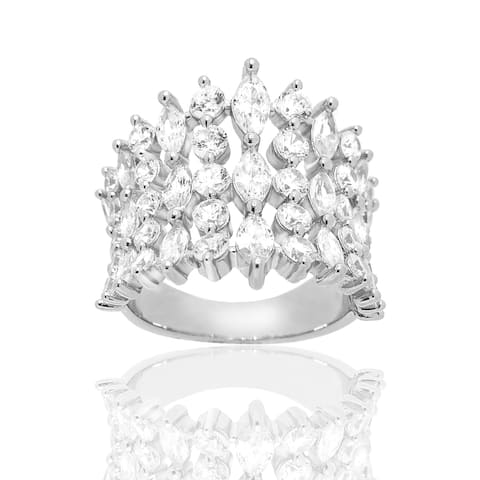Cluster Marquise and Round Cubic Zirconia Sterling Silver Ring