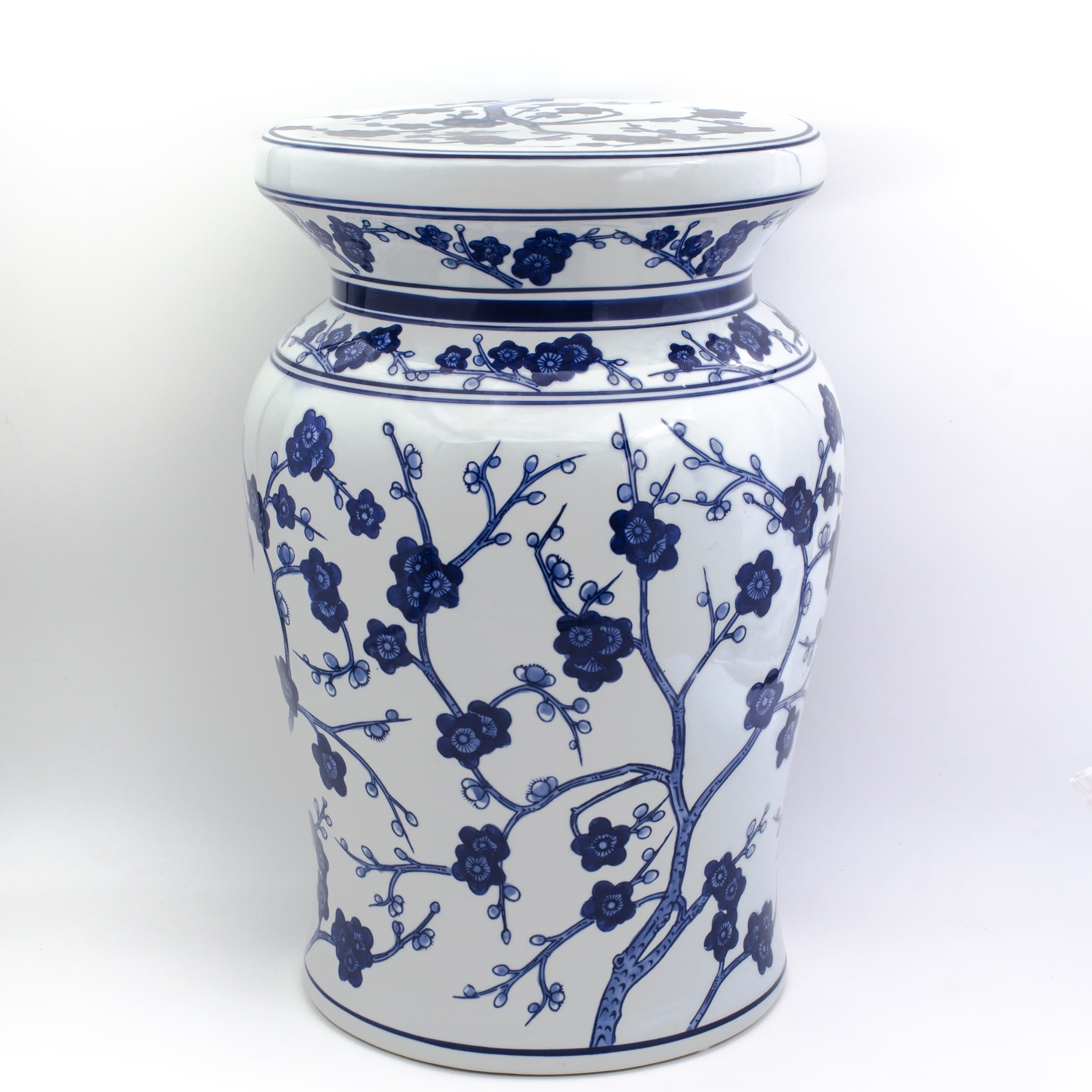 "Oriental Furniture 18/"" Cherry Blossom Porcelain Garden Stool"