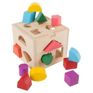 Wooden Shape Sorter- Classic Toddler Cube Puzzle Toy with Shape Cutouts and 12 Colorful Geometric Blocks Hey! Play!