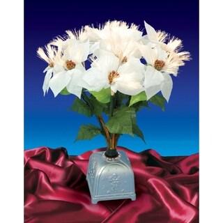 "20"" Pre-Lit Fiber Optic White Poinsettia Artificial Christmas Plant"