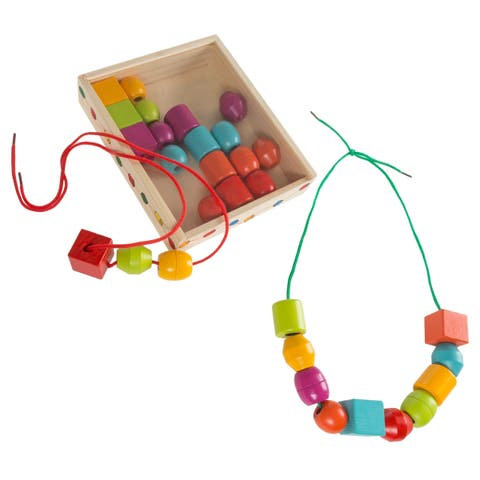 Kids Bead and String Lacing Toy-Set with 30 Wooden Beads, 2 Strings, and Storage Box-Fun and Creative STEM Hey! Play!