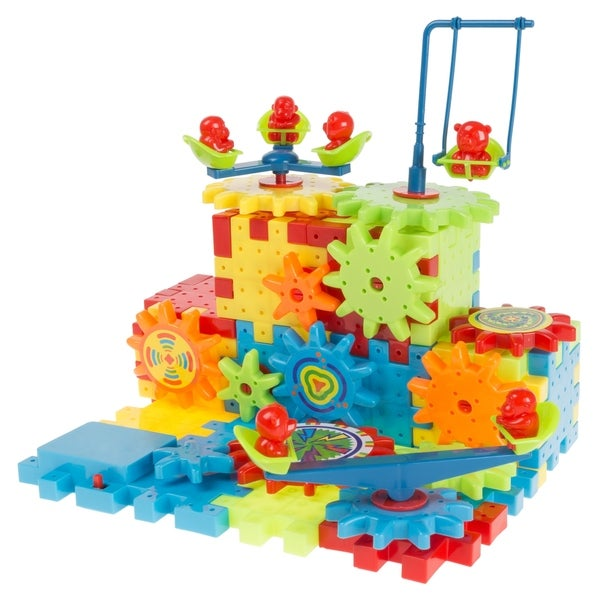 81 Pc. Interlocking Gear Building Set- STEM Learning Toy, Fun Moving Mechanical Construction Blocks Hey! Play!. Opens flyout.