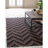Unique Loom Chevron Outdoor Area Rug - 8' x 11' 4