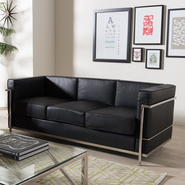 Mason Black Leather Sofa Free Shipping Today Overstock