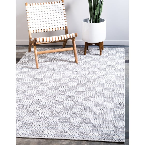 Unique Loom Checkered Chindi Cotton Area Rug